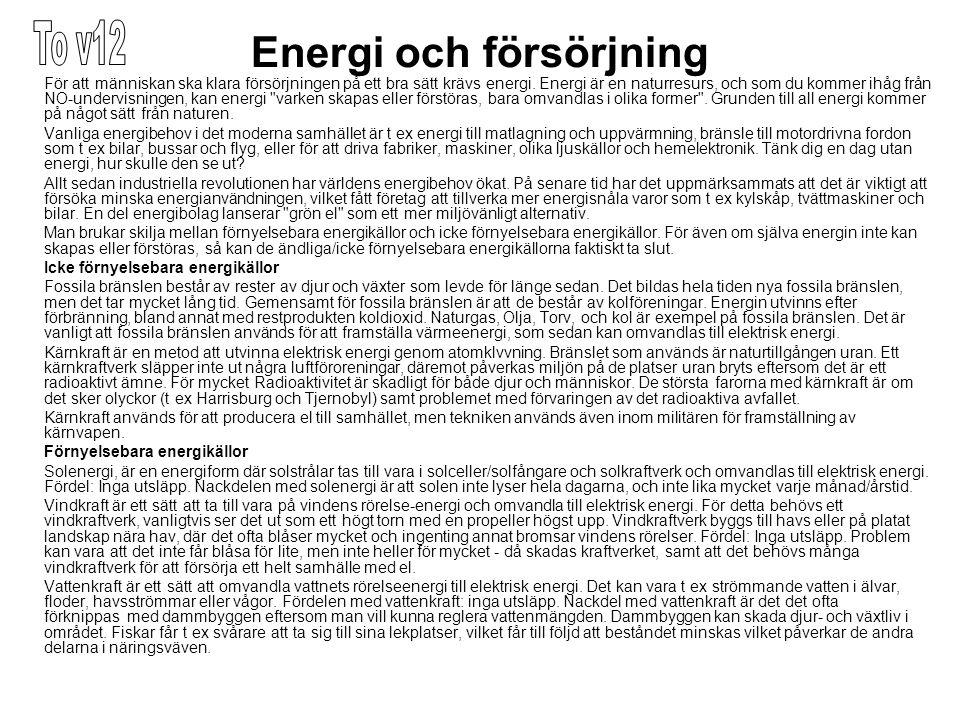 Energi och försörjning För att människan ska klara försörjningen på ett bra sätt krävs energi.