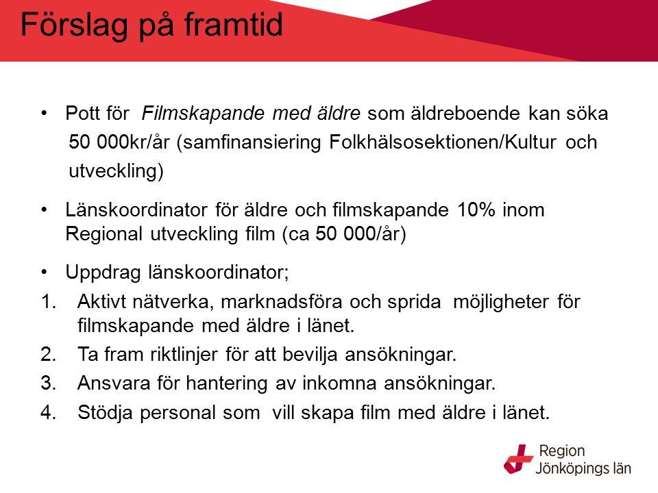 Förslag på framtid Pott för Filmskapande med äldre som äldreboende kan söka 50 000kr/år (samfinansiering Folkhälsosektionen/Kultur och utveckling) Länskoordinator för äldre och filmskapande 10% inom Regional utveckling film (ca 50 000/år) Uppdrag länskoordinator; 1.Aktivt nätverka, marknadsföra och sprida möjligheter för filmskapande med äldre i länet.