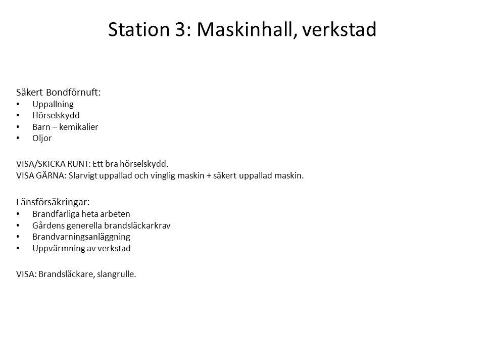 Station 3: Maskinhall, verkstad Säkert Bondförnuft: Uppallning Hörselskydd Barn – kemikalier Oljor VISA/SKICKA RUNT: Ett bra hörselskydd.