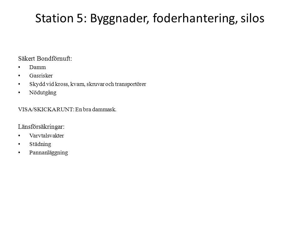 Station 5: Byggnader, foderhantering, silos Säkert Bondförnuft: Damm Gasrisker Skydd vid kross, kvarn, skruvar och transportörer Nödutgång VISA/SKICKA RUNT: En bra dammask.