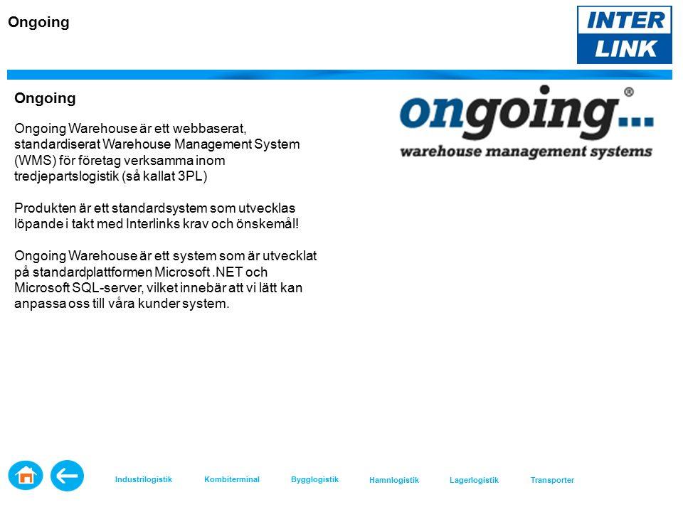 Ongoing Ongoing Warehouse är ett webbaserat, standardiserat Warehouse Management System (WMS) för företag verksamma inom tredjepartslogistik (så kallat 3PL) Produkten är ett standardsystem som utvecklas löpande i takt med Interlinks krav och önskemål.