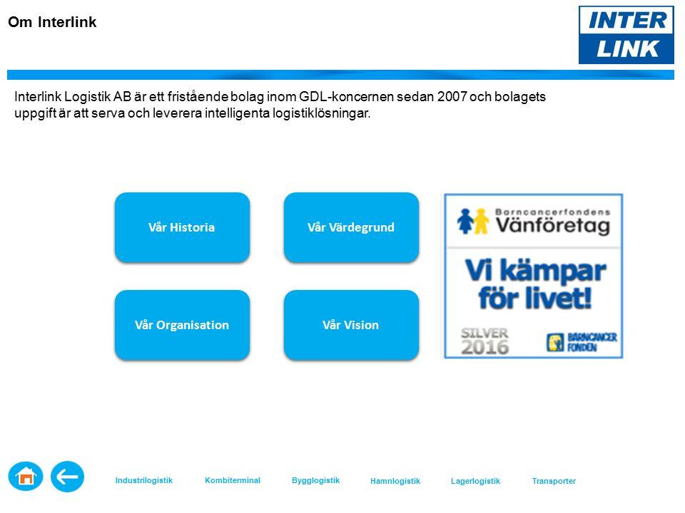 Vår Historia Vår Värdegrund Vår Organisation Vår Vision Interlink Logistik AB är ett fristående bolag inom GDL-koncernen sedan 2007 och bolagets uppgift är att serva och leverera intelligenta logistiklösningar.