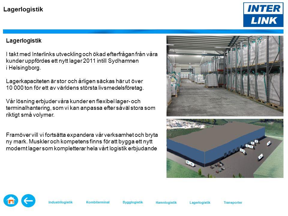 Lagerlogistik I takt med Interlinks utveckling och ökad efterfrågan från våra kunder uppfördes ett nytt lager 2011 intill Sydhamnen i Helsingborg.
