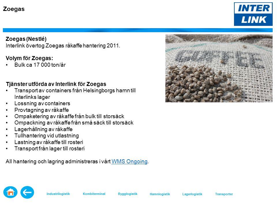 Zoegas Zoegas (Nestlé) Interlink övertog Zoegas råkaffe hantering 2011.