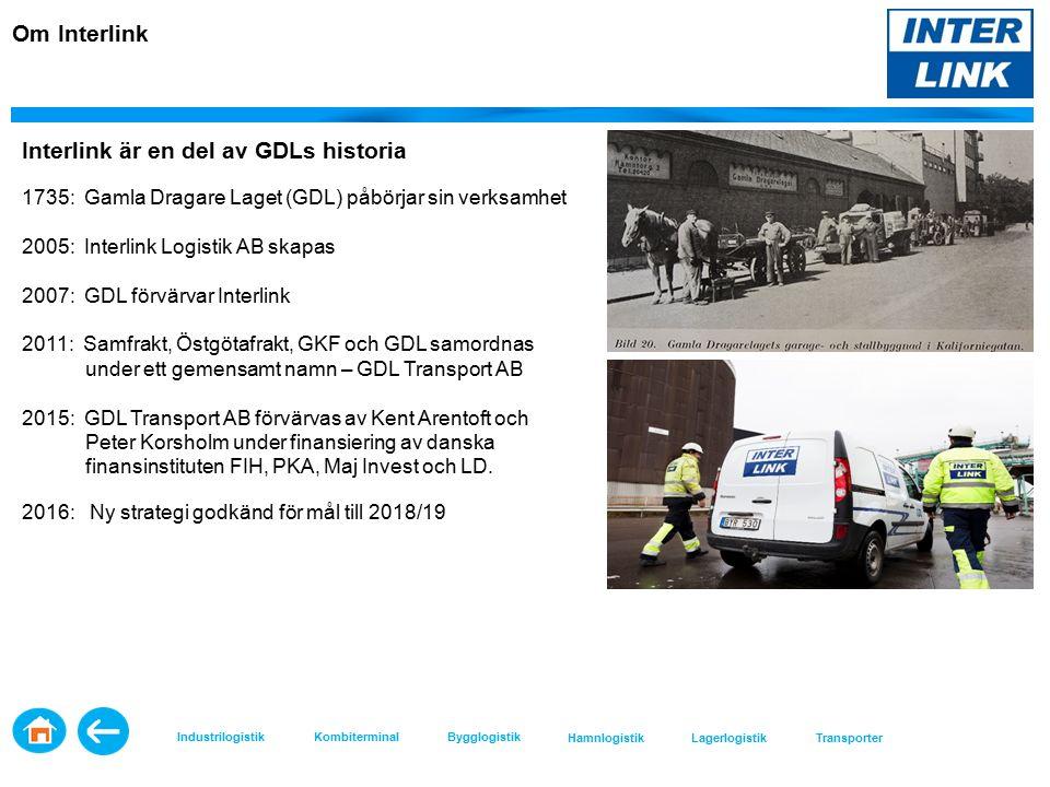 Interlink är en del av GDLs historia 1735: Gamla Dragare Laget (GDL) påbörjar sin verksamhet 2005: Interlink Logistik AB skapas 2007: GDL förvärvar Interlink 2011: Samfrakt, Östgötafrakt, GKF och GDL samordnas under ett gemensamt namn – GDL Transport AB 2015: GDL Transport AB förvärvas av Kent Arentoft och Peter Korsholm under finansiering av danska finansinstituten FIH, PKA, Maj Invest och LD.