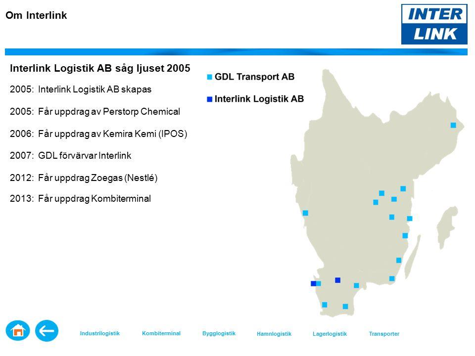 Interlink Logistik AB såg ljuset 2005 2005: Interlink Logistik AB skapas 2005: Får uppdrag av Perstorp Chemical 2006: Får uppdrag av Kemira Kemi (IPOS) 2007: GDL förvärvar Interlink 2012: Får uppdrag Zoegas (Nestlé) 2013: Får uppdrag Kombiterminal Om Interlink Industrilogistik KombiterminalBygglogistik HamnlogistikLagerlogistikTransporter