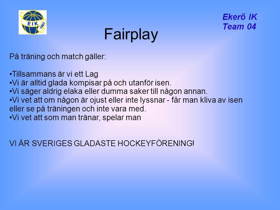 Ekerö IK Team 04 Fairplay På träning och match gäller: Tillsammans är vi ett Lag Vi är alltid glada kompisar på och utanför isen.