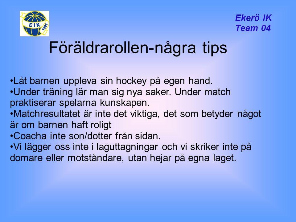 Ekerö IK Team 04 Föräldrarollen-några tips Låt barnen uppleva sin hockey på egen hand.