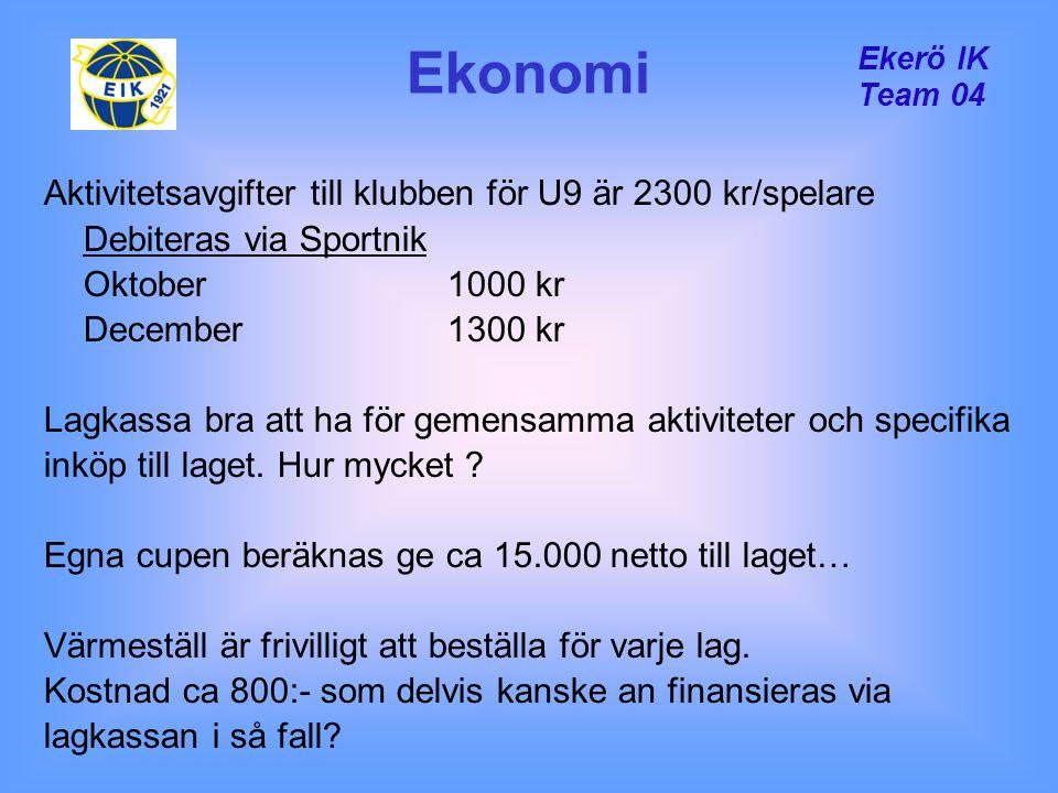 Ekerö IK Team 04 Ekonomi Aktivitetsavgifter till klubben för U9 är 2300 kr/spelare Debiteras via Sportnik Oktober 1000 kr December1300 kr Lagkassa bra att ha för gemensamma aktiviteter och specifika inköp till laget.