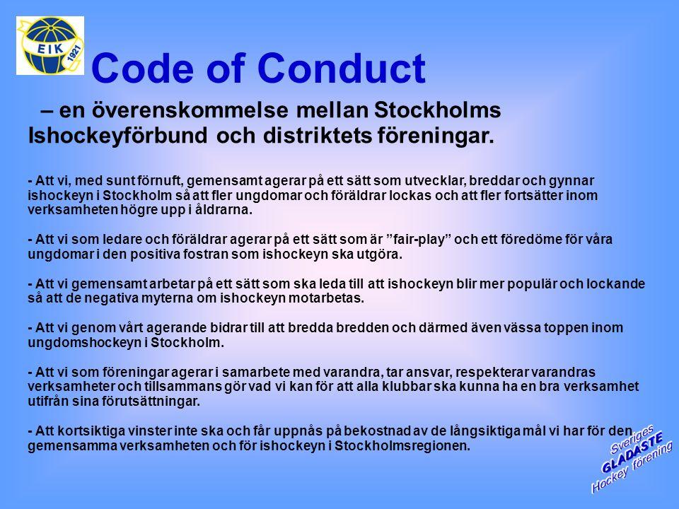Code of Conduct – en överenskommelse mellan Stockholms Ishockeyförbund och distriktets föreningar.