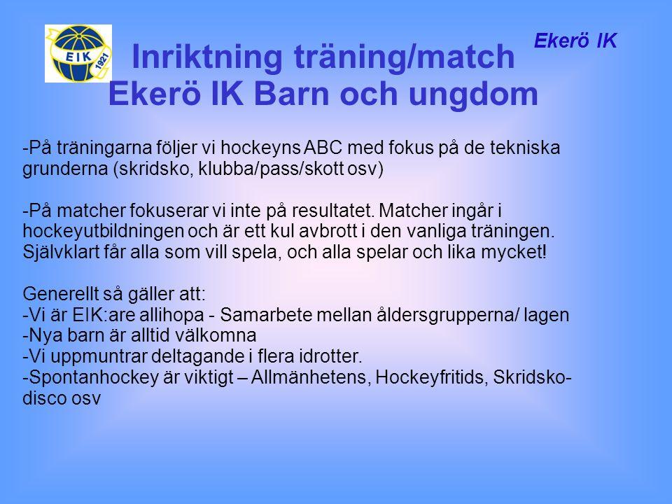 Ekerö IK -På träningarna följer vi hockeyns ABC med fokus på de tekniska grunderna (skridsko, klubba/pass/skott osv) -På matcher fokuserar vi inte på resultatet.