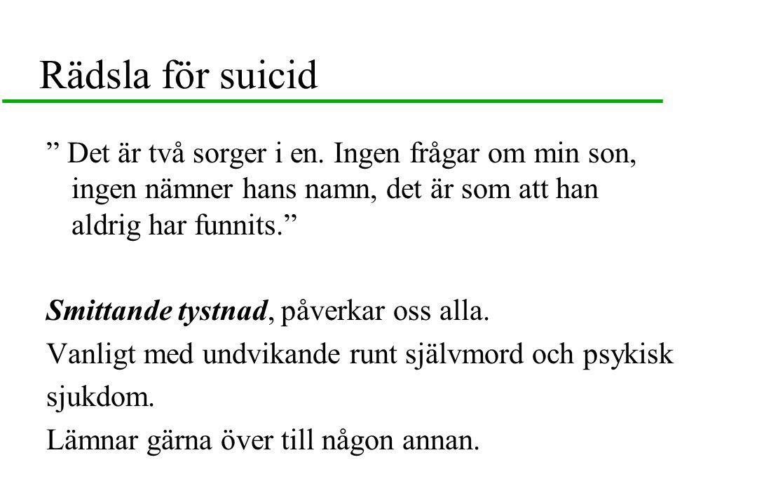 Rädsla för suicid Det är två sorger i en.