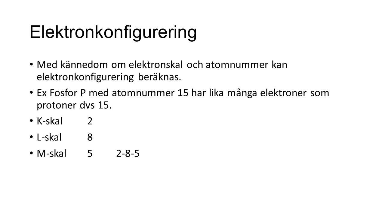 Elektronkonfigurering Med kännedom om elektronskal och atomnummer kan elektronkonfigurering beräknas.