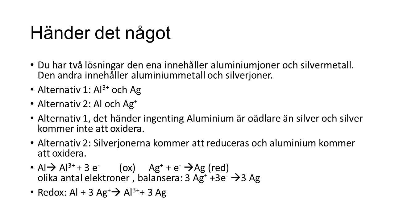 Händer det något Du har två lösningar den ena innehåller aluminiumjoner och silvermetall.