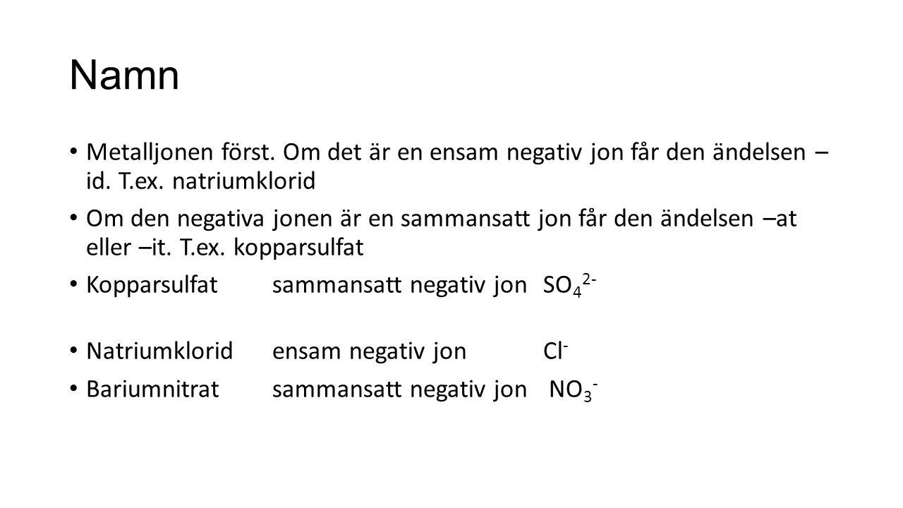 Namn Metalljonen först. Om det är en ensam negativ jon får den ändelsen – id.