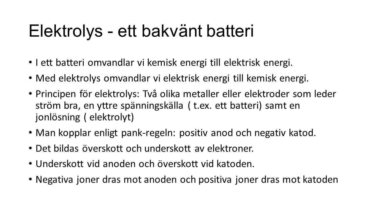 Elektrolys - ett bakvänt batteri I ett batteri omvandlar vi kemisk energi till elektrisk energi.