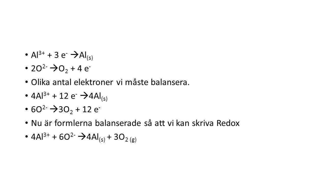 Al 3+ + 3 e -  Al (s) 2O 2-  O 2 + 4 e - Olika antal elektroner vi måste balansera.