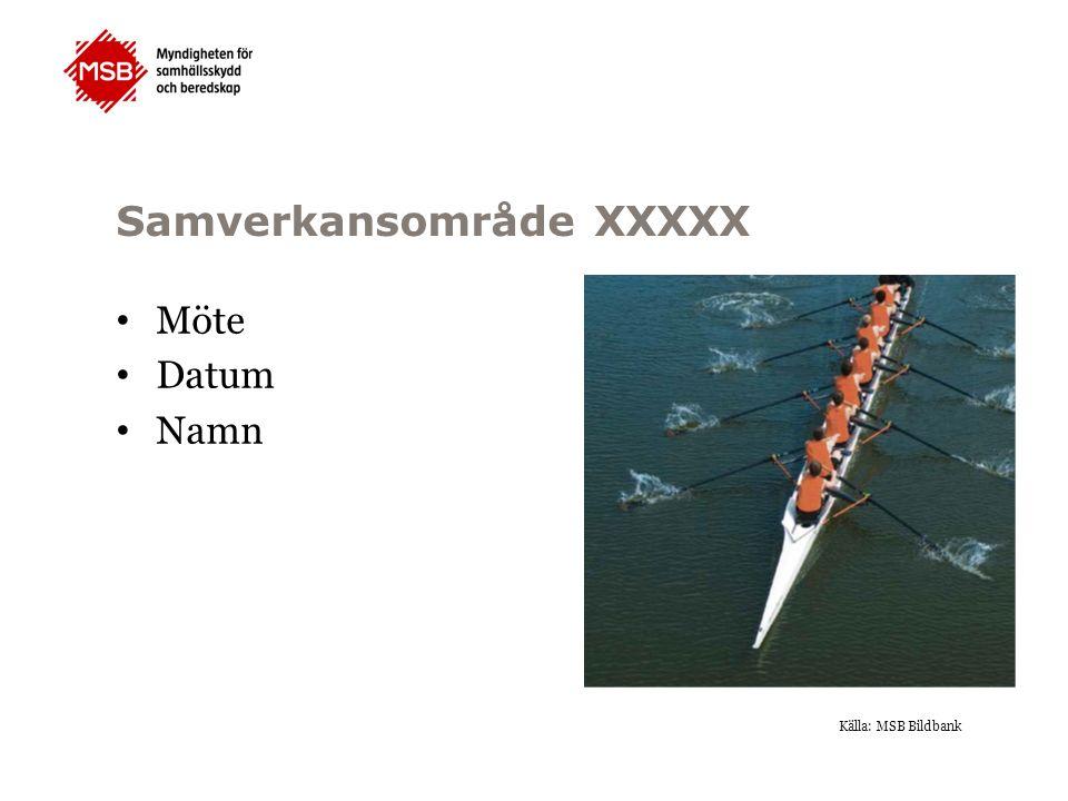 Samverkansområde XXXXX Möte Datum Namn Källa: MSB Bildbank