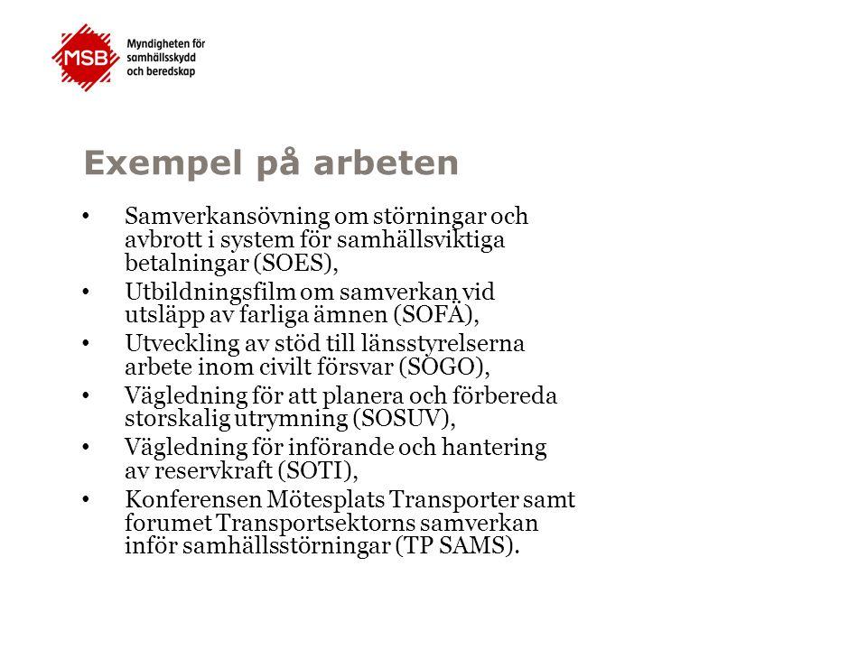 Exempel på arbeten Samverkansövning om störningar och avbrott i system för samhällsviktiga betalningar (SOES), Utbildningsfilm om samverkan vid utsläp