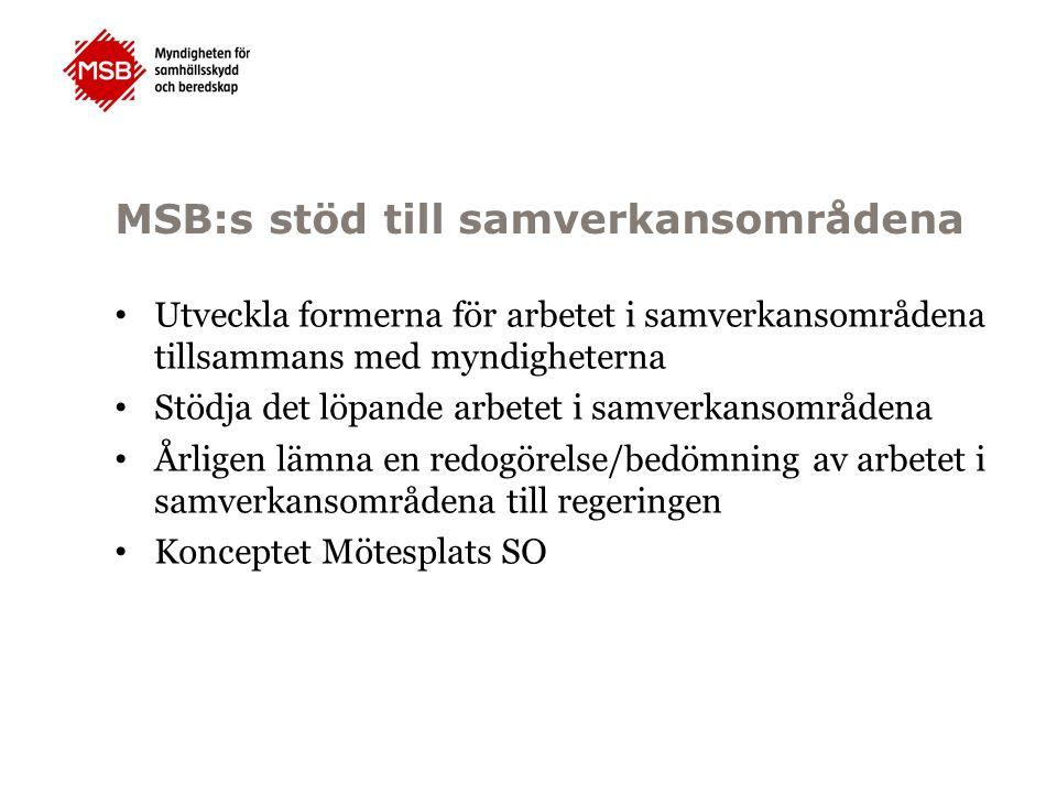 MSB:s stöd till samverkansområdena Utveckla formerna för arbetet i samverkansområdena tillsammans med myndigheterna Stödja det löpande arbetet i samve