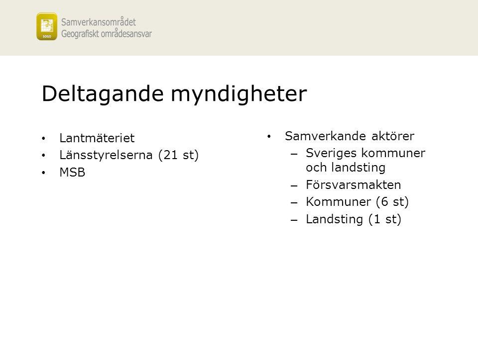 Deltagande myndigheter Lantmäteriet Länsstyrelserna (21 st) MSB Samverkande aktörer – Sveriges kommuner och landsting – Försvarsmakten – Kommuner (6 s