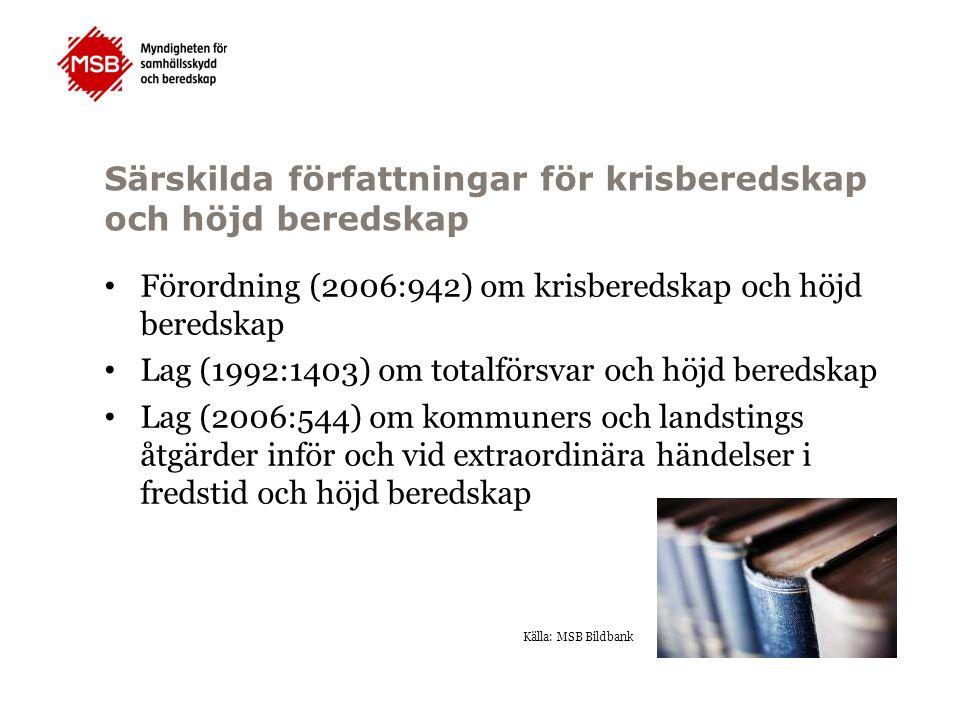 Särskilda författningar för krisberedskap och höjd beredskap Förordning (2006:942) om krisberedskap och höjd beredskap Lag (1992:1403) om totalförsvar