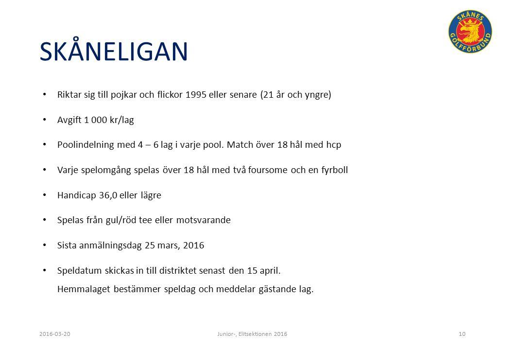 SKÅNELIGAN Riktar sig till pojkar och flickor 1995 eller senare (21 år och yngre) Avgift 1 000 kr/lag Poolindelning med 4 – 6 lag i varje pool.