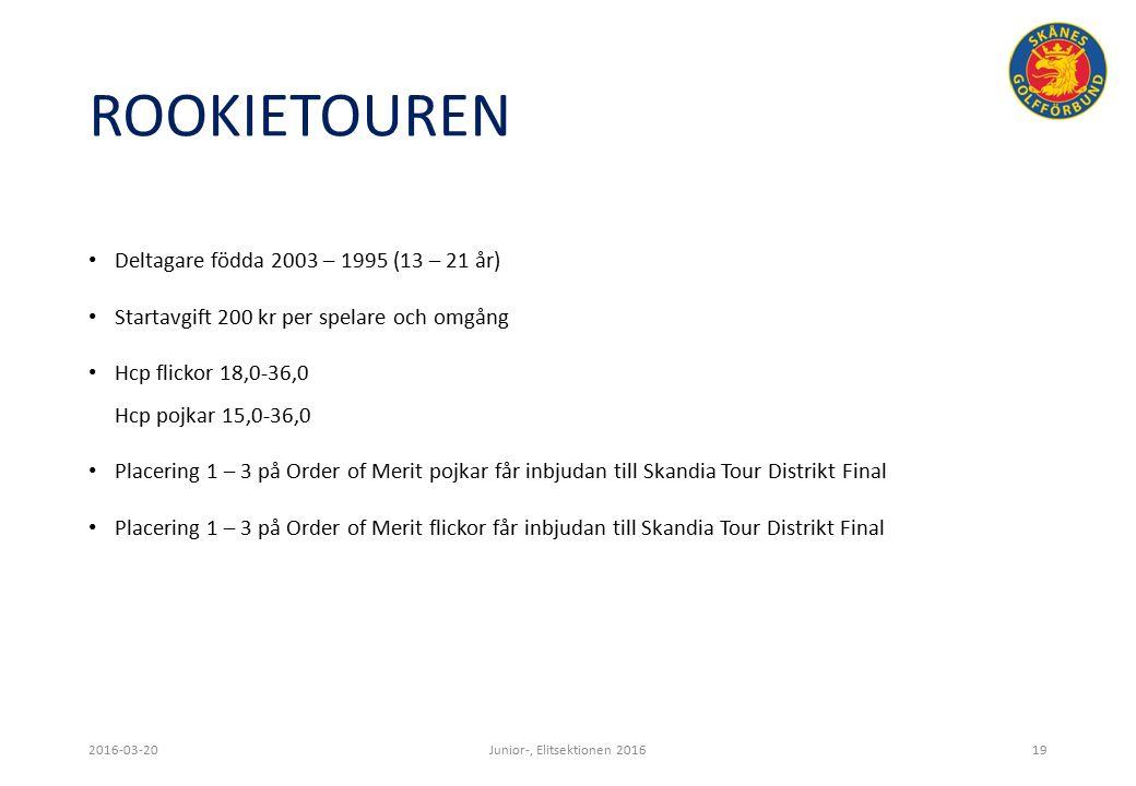 ROOKIETOUREN Deltagare födda 2003 – 1995 (13 – 21 år) Startavgift 200 kr per spelare och omgång Hcp flickor 18,0-36,0 Hcp pojkar 15,0-36,0 Placering 1 – 3 på Order of Merit pojkar får inbjudan till Skandia Tour Distrikt Final Placering 1 – 3 på Order of Merit flickor får inbjudan till Skandia Tour Distrikt Final 2016-03-20Junior-, Elitsektionen 201619