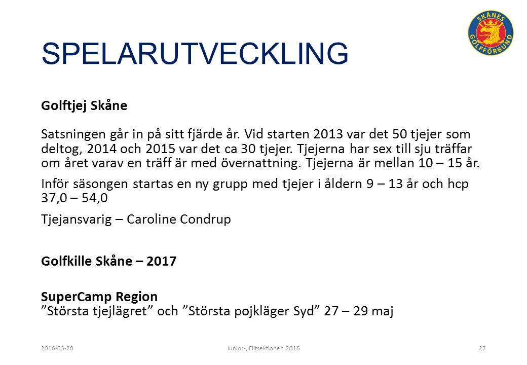 SPELARUTVECKLING 2016-03-20Junior-, Elitsektionen 201627 Golftjej Skåne Satsningen går in på sitt fjärde år.