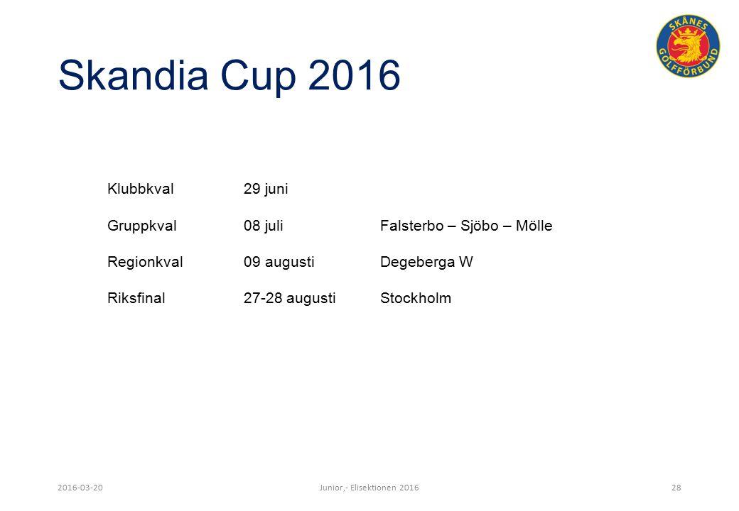 Skandia Cup 2016 2016-03-20Junior,- Elisektionen 201628 Klubbkval29 juni Gruppkval08 juliFalsterbo – Sjöbo – Mölle Regionkval09 augustiDegeberga W Riksfinal27-28 augustiStockholm