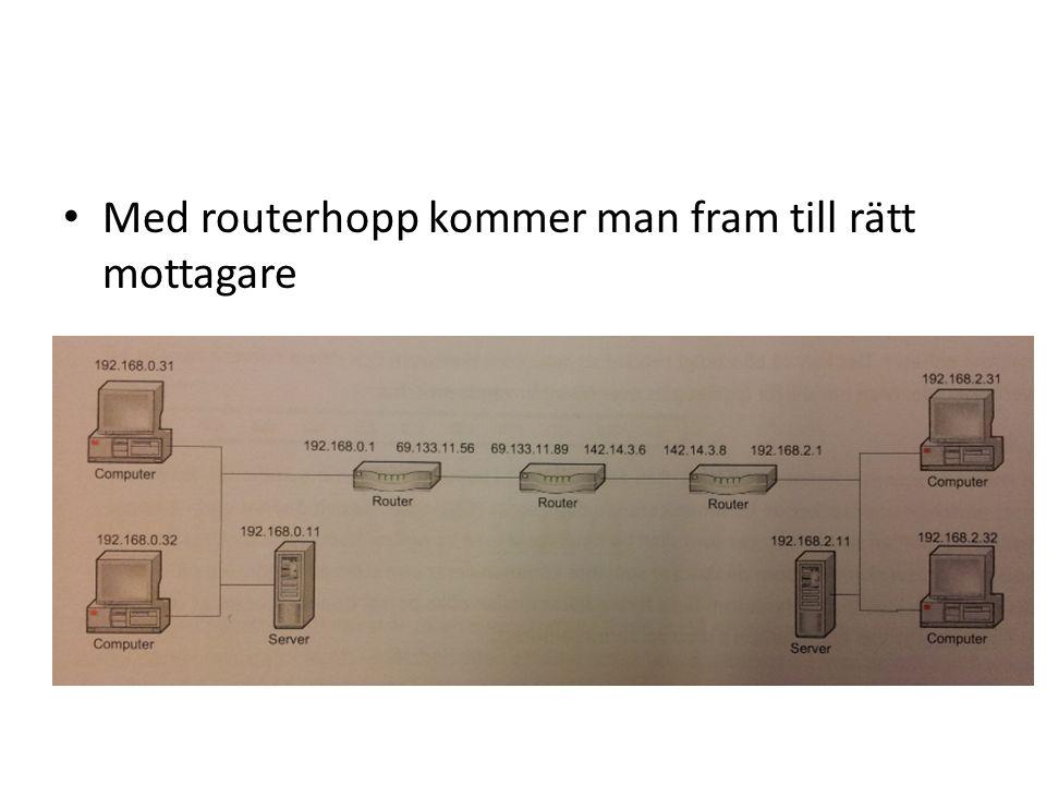 Med routerhopp kommer man fram till rätt mottagare