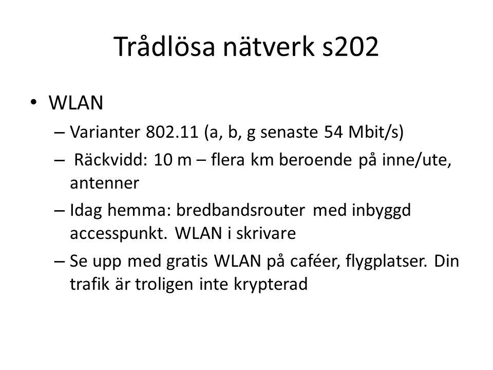 Trådlösa nätverk s202 WLAN – Varianter 802.11 (a, b, g senaste 54 Mbit/s) – Räckvidd: 10 m – flera km beroende på inne/ute, antenner – Idag hemma: bredbandsrouter med inbyggd accesspunkt.