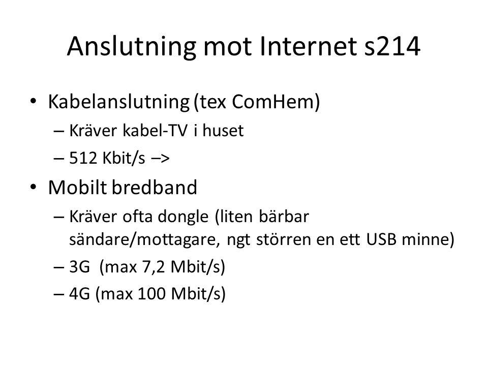 Anslutning mot Internet s214 Kabelanslutning (tex ComHem) – Kräver kabel-TV i huset – 512 Kbit/s –> Mobilt bredband – Kräver ofta dongle (liten bärbar sändare/mottagare, ngt störren en ett USB minne) – 3G (max 7,2 Mbit/s) – 4G (max 100 Mbit/s)