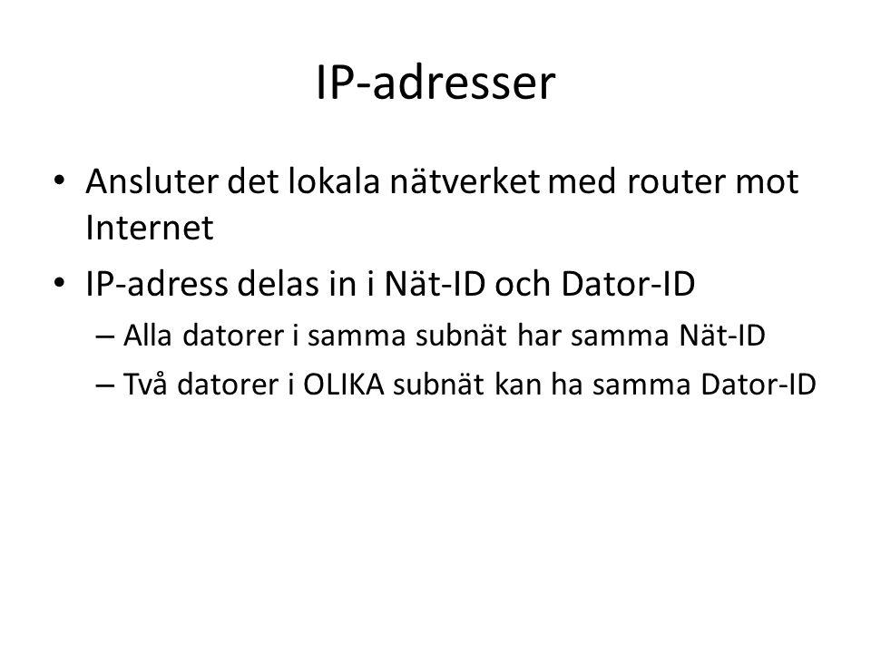 IP-adresser Ansluter det lokala nätverket med router mot Internet IP-adress delas in i Nät-ID och Dator-ID – Alla datorer i samma subnät har samma Nät-ID – Två datorer i OLIKA subnät kan ha samma Dator-ID