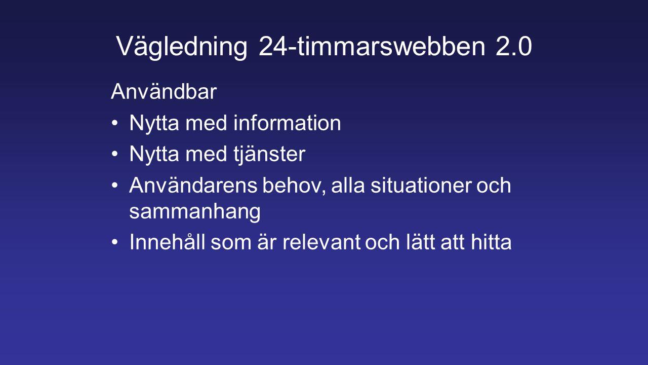 Vägledning 24-timmarswebben 2.0 Användbar Nytta med information Nytta med tjänster Användarens behov, alla situationer och sammanhang Innehåll som är relevant och lätt att hitta