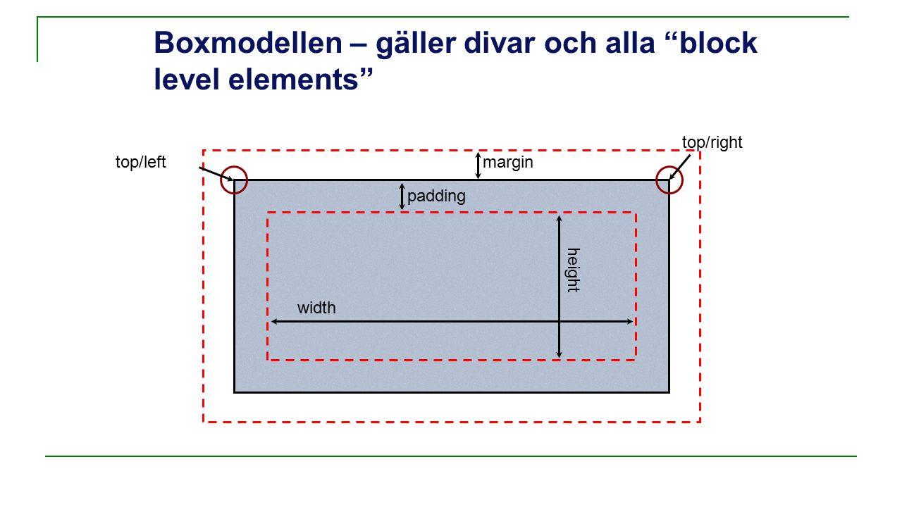 Boxmodellen – gäller divar och alla block level elements padding margintop/left width height top/right