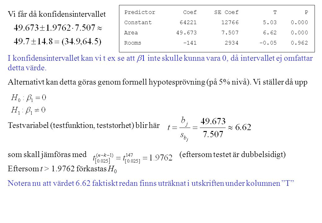 Vi får då konfidensintervallet I konfidensintervallet kan vi t ex se att  1 inte skulle kunna vara 0, då intervallet ej omfattar detta värde.