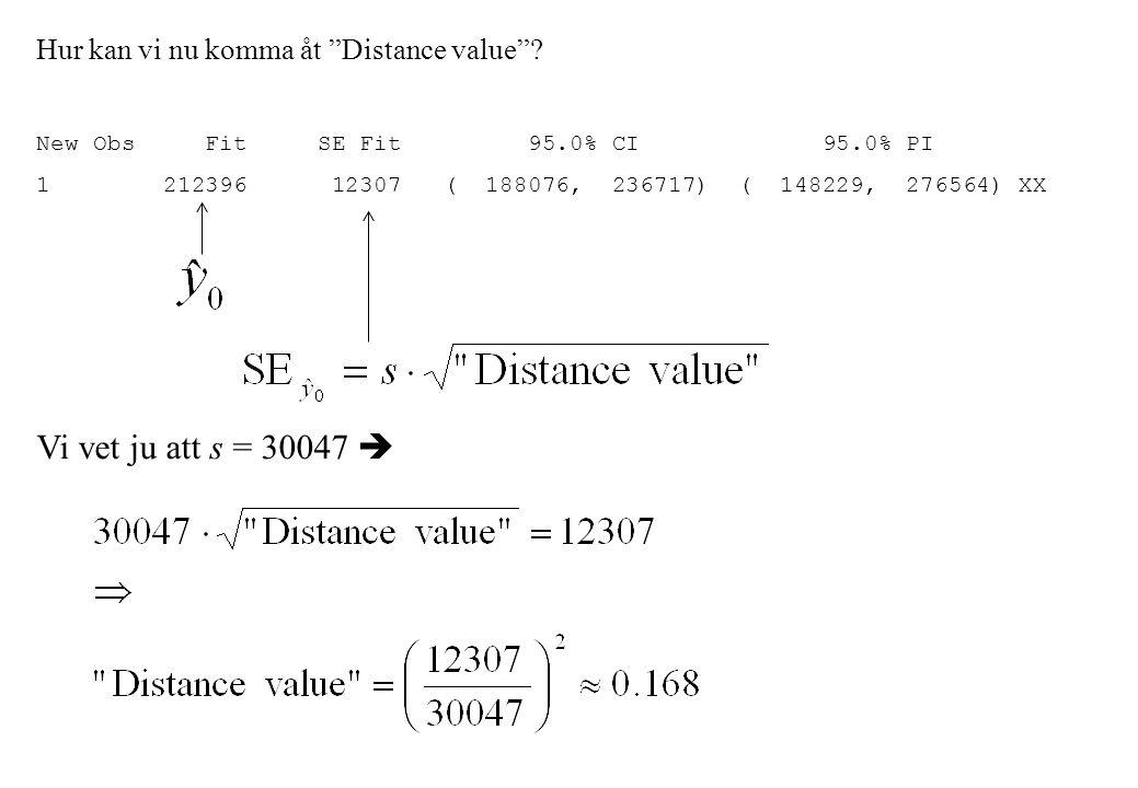 """Hur kan vi nu komma åt """"Distance value""""? New Obs Fit SE Fit 95.0% CI 95.0% PI 1 212396 12307 ( 188076, 236717) ( 148229, 276564) XX Vi vet ju att s ="""