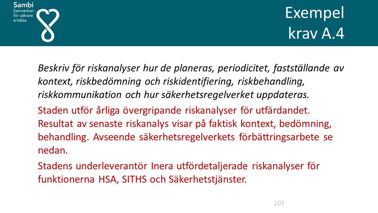 Exempel krav A.4 103 Beskriv för riskanalyser hur de planeras, periodicitet, fastställande av kontext, riskbedömning och riskidentifiering, riskbehandling, riskkommunikation och hur säkerhetsregelverket uppdateras.