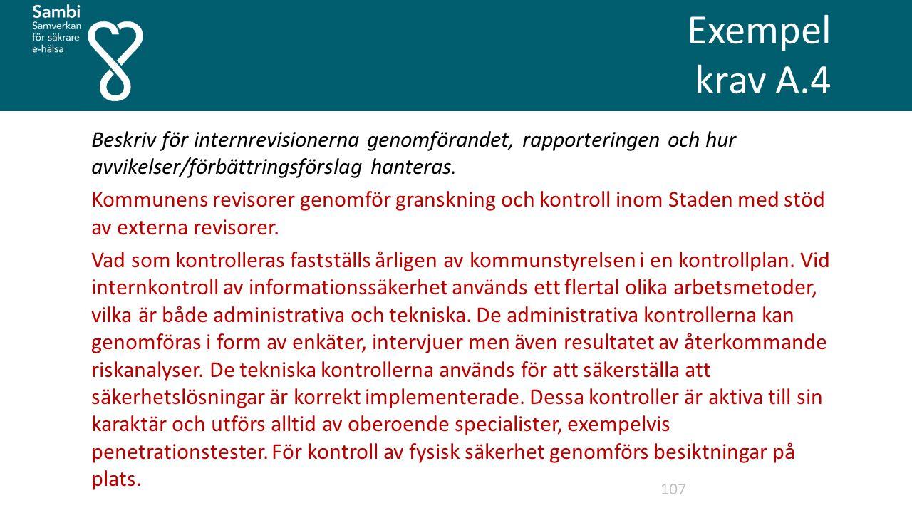 Exempel krav A.4 107 Beskriv för internrevisionerna genomförandet, rapporteringen och hur avvikelser/förbättringsförslag hanteras.