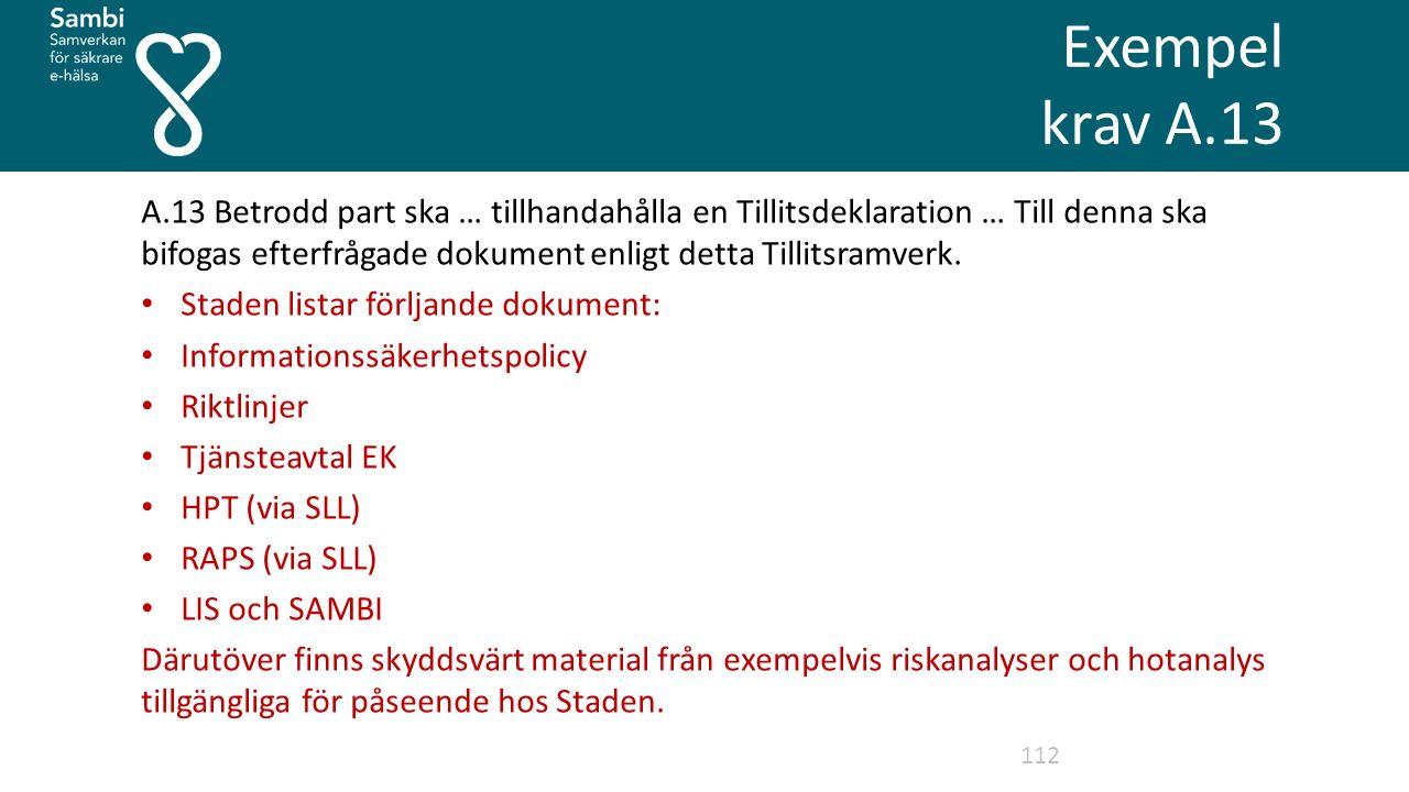 Exempel krav A.13 112 A.13 Betrodd part ska … tillhandahålla en Tillitsdeklaration … Till denna ska bifogas efterfrågade dokument enligt detta Tillitsramverk.