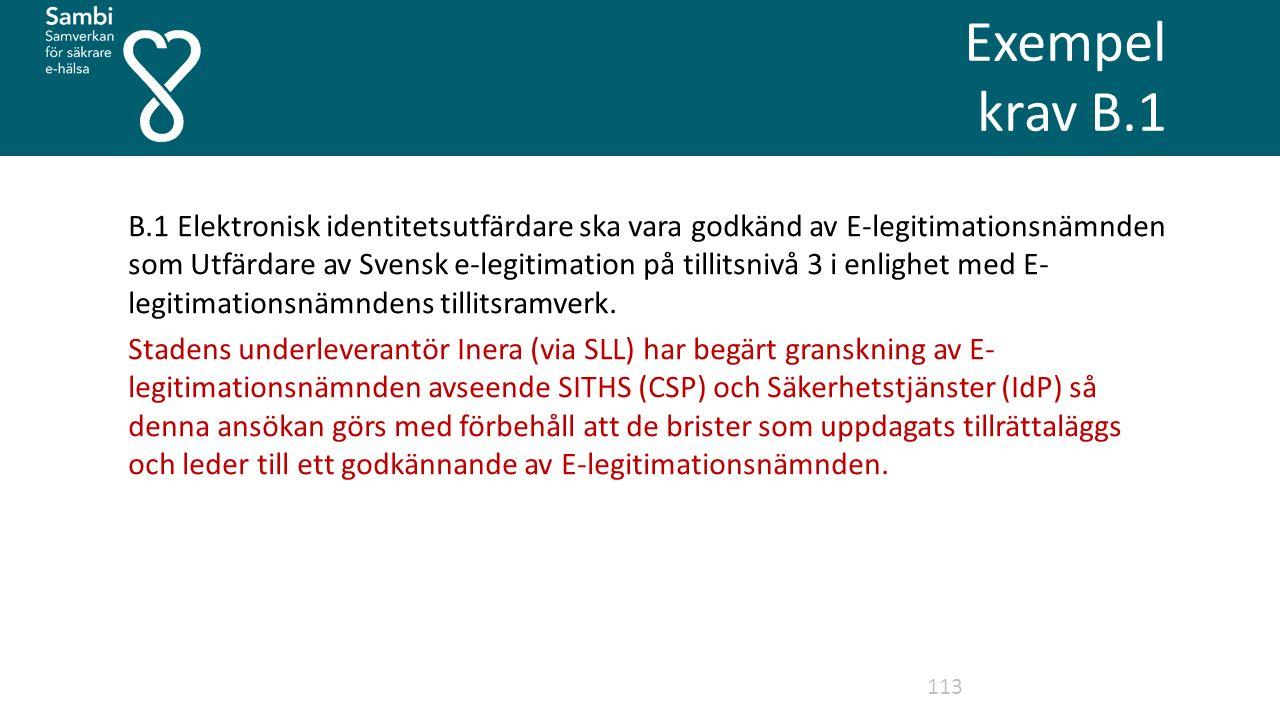 Exempel krav B.1 113 B.1 Elektronisk identitetsutfärdare ska vara godkänd av E-legitimationsnämnden som Utfärdare av Svensk e-legitimation på tillitsnivå 3 i enlighet med E- legitimationsnämndens tillitsramverk.