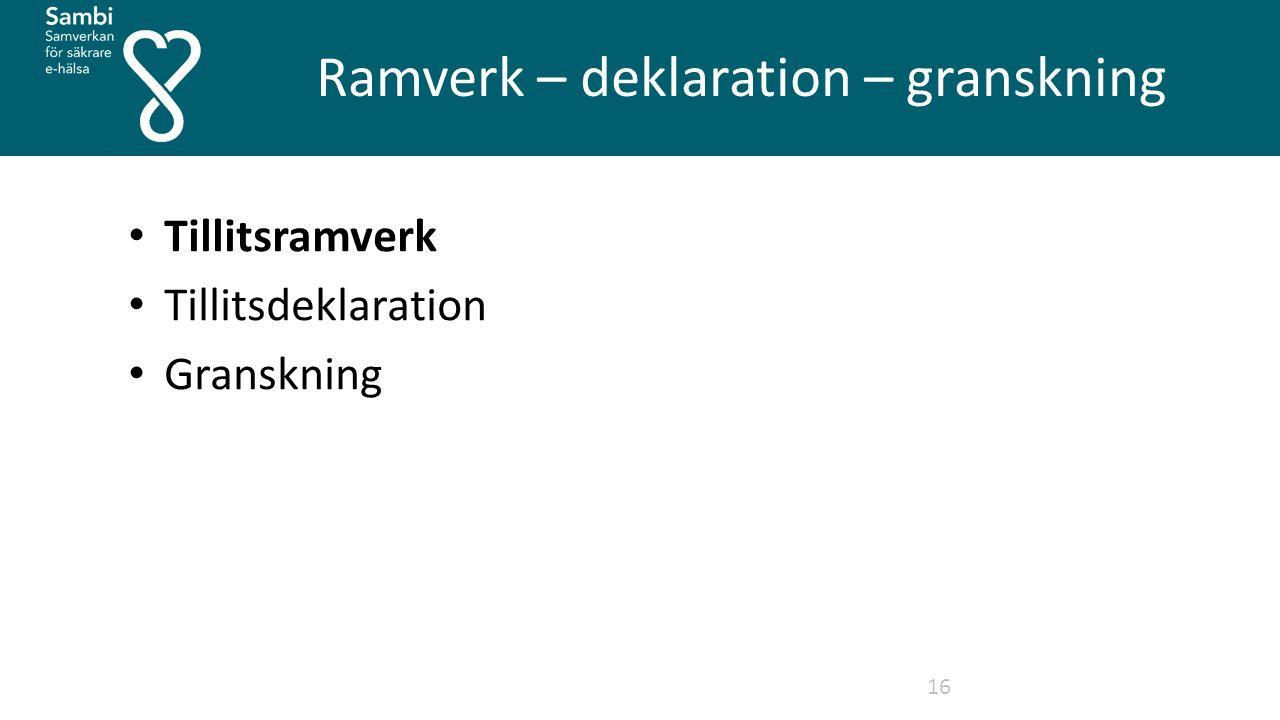 Ramverk – deklaration – granskning 16 Tillitsramverk Tillitsdeklaration Granskning