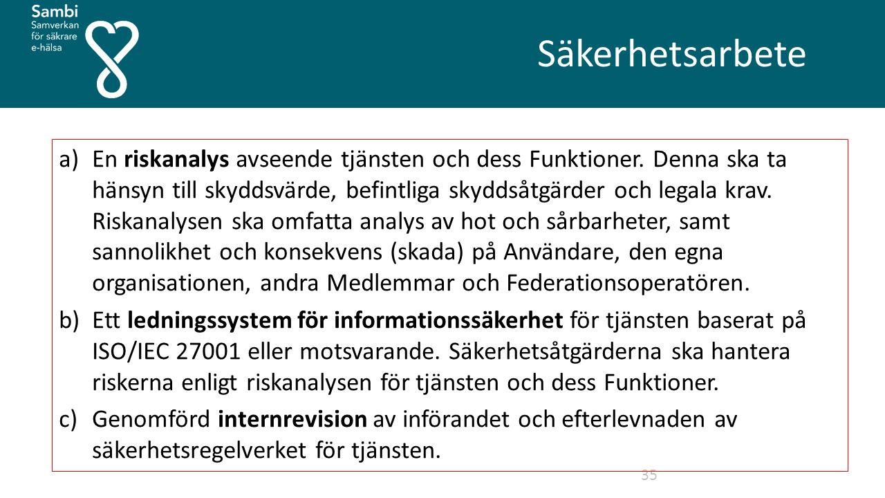 Säkerhetsarbete 35 a)En riskanalys avseende tjänsten och dess Funktioner.