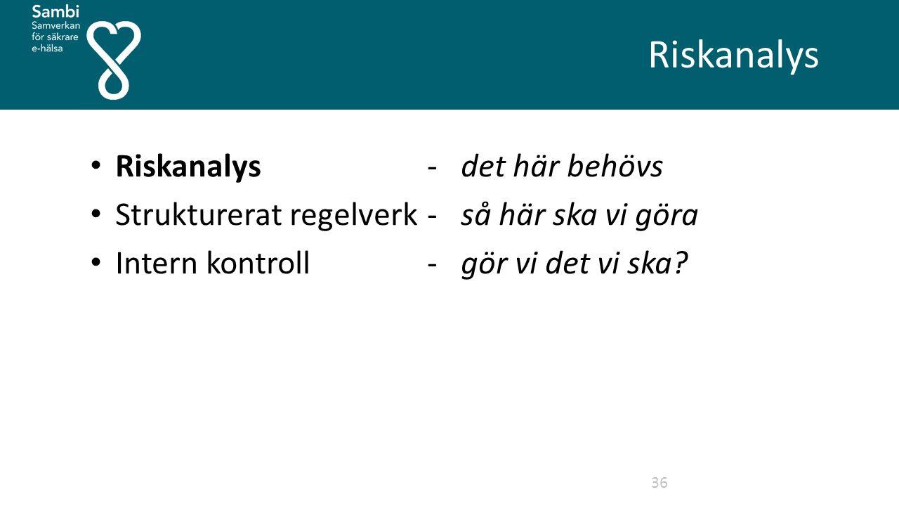 Riskanalys 36 Riskanalys-det här behövs Strukturerat regelverk - så här ska vi göra Intern kontroll- gör vi det vi ska?