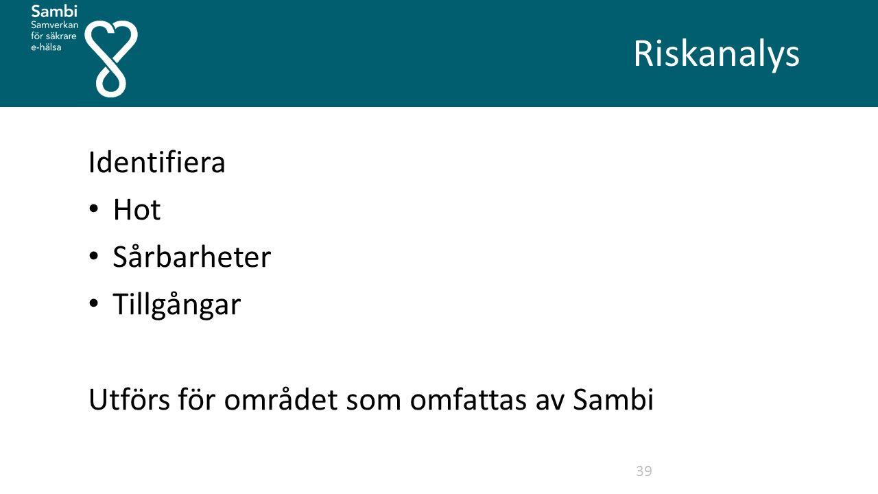 Riskanalys 39 Identifiera Hot Sårbarheter Tillgångar Utförs för området som omfattas av Sambi