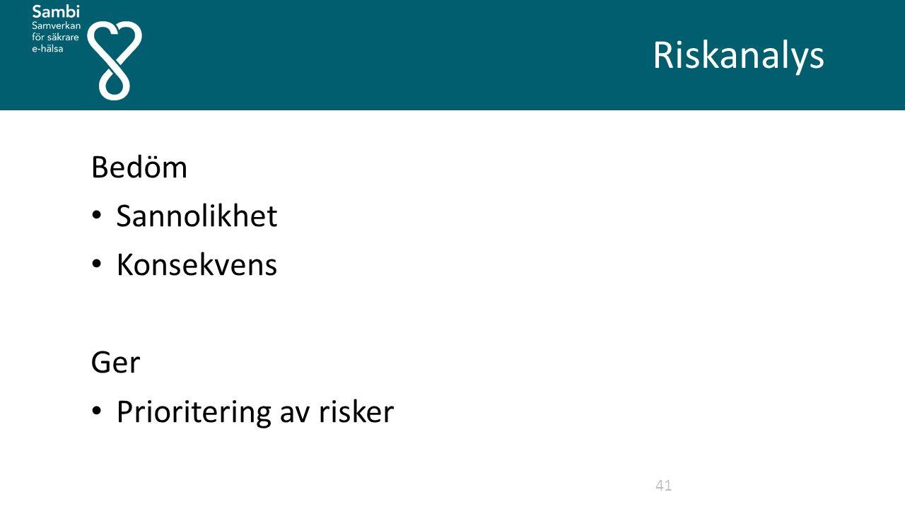 Riskanalys 41 Bedöm Sannolikhet Konsekvens Ger Prioritering av risker