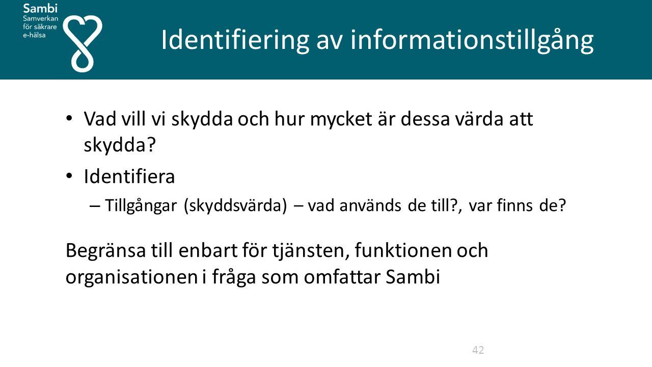 Identifiering av informationstillgång 42 Vad vill vi skydda och hur mycket är dessa värda att skydda.