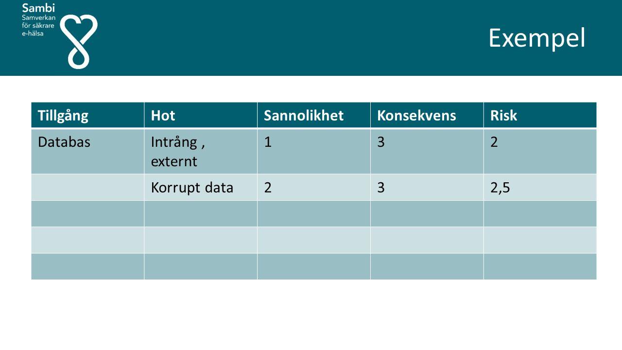 TillgångHotSannolikhetKonsekvensRisk DatabasIntrång, externt 132 Korrupt data232,5 Exempel