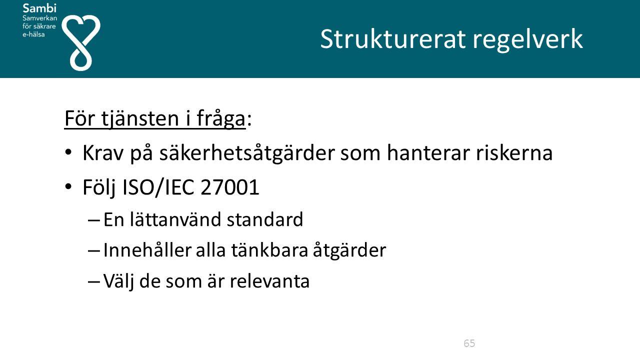 Strukturerat regelverk 65 För tjänsten i fråga: Krav på säkerhetsåtgärder som hanterar riskerna Följ ISO/IEC 27001 – En lättanvänd standard – Innehåller alla tänkbara åtgärder – Välj de som är relevanta